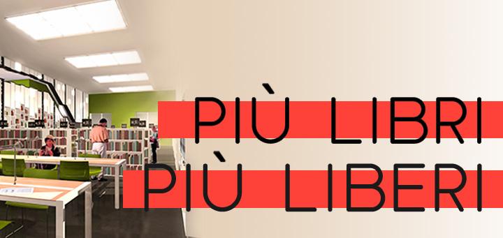 Biblioteca e decrescita felice - Immagine con render biblioteca e titolo: Più libri più liberi